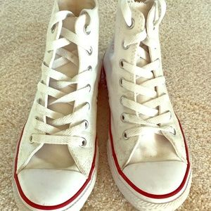 Converse All Star Hi top sneakers White. Size YS.